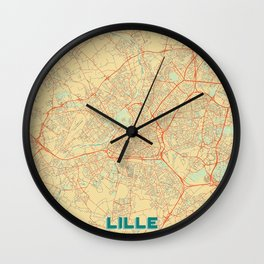 Lille Map Retro Wall Clock