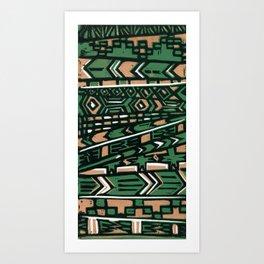 Tribal lino print  Art Print