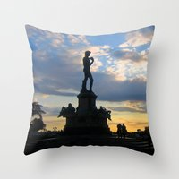 lucas david Throw Pillows featuring David by Ken Seligson