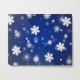 Winter / Christmas Blue and White Snowflakes Metal Print