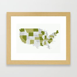 Green and grey USA map with labels Framed Art Print
