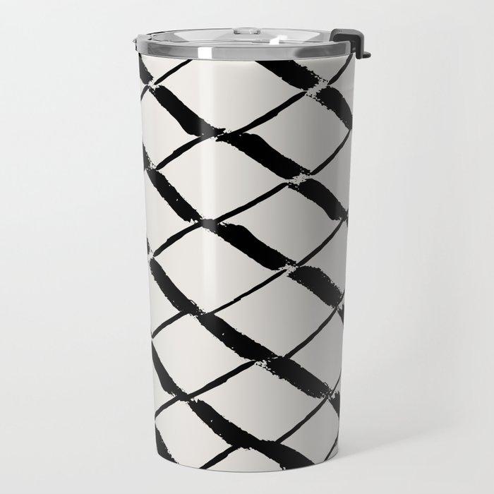 Modern Diamond Lattice Black on Light Gray Travel Mug