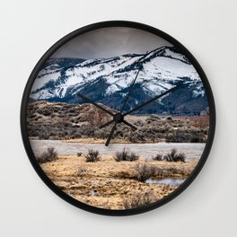 Winter day at Washoe Lake Wall Clock