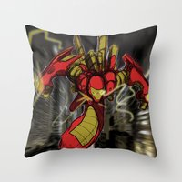 iron maiden Throw Pillows featuring iRon by wOlly