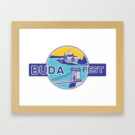 Budapest, Chain Bridge, sticker, blue, yellow Framed Art Print