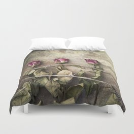 Three dried roses and barbed wire Duvet Cover