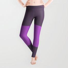 Pink stripe on brown background Leggings