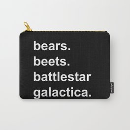 Bears Beets Battlestar Galactica (lowercase white) Carry-All Pouch