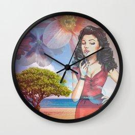 Beautiful Scenery Flowers & Girl Blowing Bubbles Wall Clock