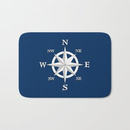 Eight Point Compass Rose, White and Navy Blue Bath Mat