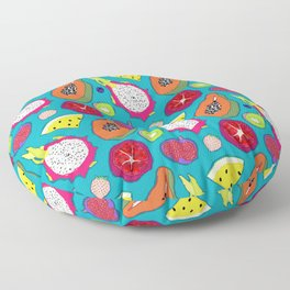Seedy Fruits in Teal Blue Floor Pillow