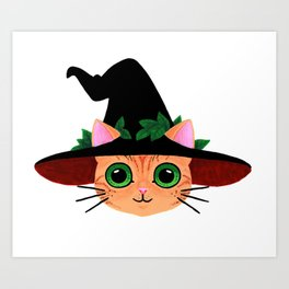 Witch hat cat Art Print