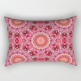 Pink Floral Mandala Rectangular Pillow