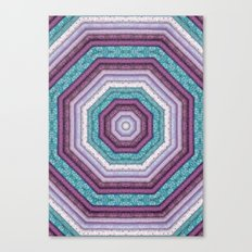folkloric mandala teal purple Canvas Print