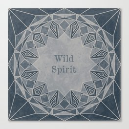 Wild Spirit Mandala blue and gray tones with a grunge texture Canvas Print