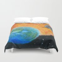 inception Duvet Covers featuring Painting Inception by Liz Mahoney