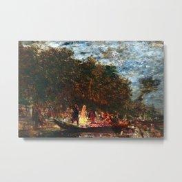 Restored: Night Festival & Bonfire, Figures on a Boat River Landscape by Felix Ziem Metal Print