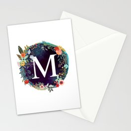 Personalized Monogram Initial Letter M Floral Wreath Artwork Stationery Cards