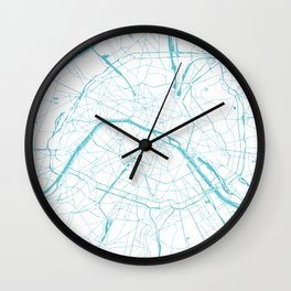 Paris France Minimal Street Map - Turquoise Blue and White Wall Clock