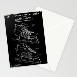 Hockey Skate Patent - Black Stationery Cards