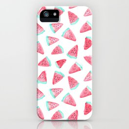Watermelon watercolor pattern iPhone Case