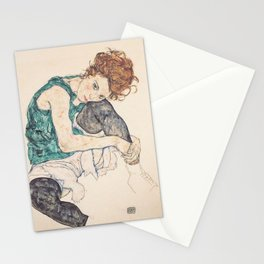 SEATED WOMAN WITH BENT KNEE - EGON SCHIELE Stationery Cards