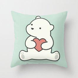 Kawaii Cute Polar Bear With Heart Throw Pillow