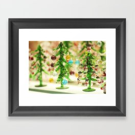 Snowmen Christmas trees Framed Art Print