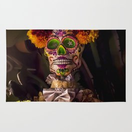 Day of the Dead Skeleton Lady with Beautiful Red and Orange Floral Crown Rug