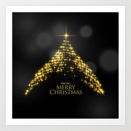 Gold Sparkle Wish You A Merry Christmas Tree Art Print