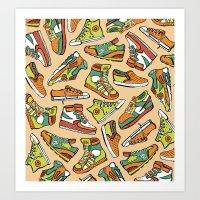 Sneaker Lover in Orange Art Print