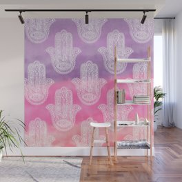 Boho white hand drawn floral lace hamsa hands of fatima purple pink watercolor ombre Wall Mural