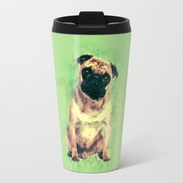 Cute Pug dog on gentle green Travel Mug