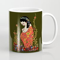 gustav klimt Mugs featuring Kokeshi Hope of Klimt by Pendientera