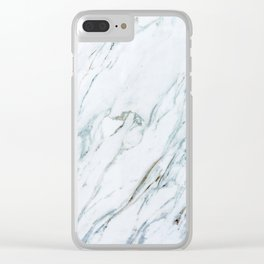 Classic White Marble Clear iPhone Case