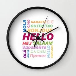 "Multilingual ""Hello"" Digital Art Wall Clock"