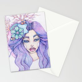 JennyMannoArt Colored Graphite/Keira the Mermaid Stationery Cards