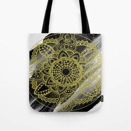 Black & Gold Zendala Tote Bag