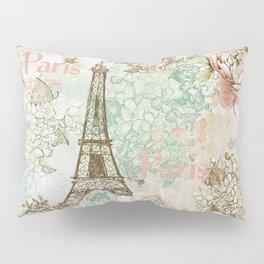 I love Paris - Vintage Shabby Chic - Eiffeltower France Flowers Floral Pillow Sham
