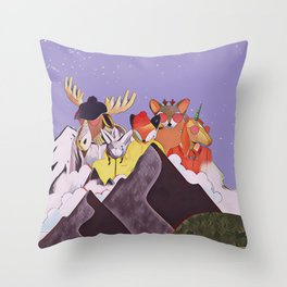 Friends in the mountains Throw Pillow