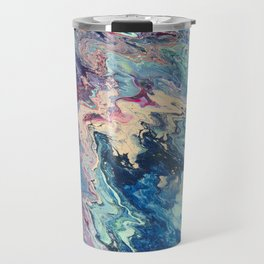 Blue swirl pour painting, Bohemian Style painting Travel Mug