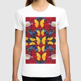 RED-WHITE ROSES & YELLOW BUTTERFLIES GARDEN T-shirt