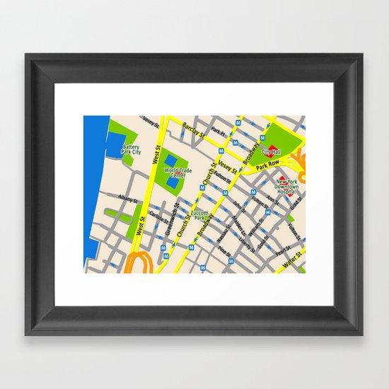 NEW YORK map design Framed Art Print