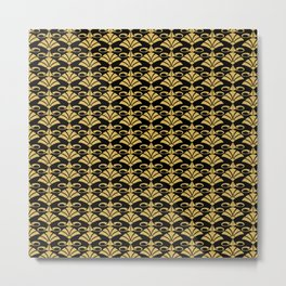 Wonderful gold glitter art deco pattern on black backround I- Luxury design for your home Metal Print