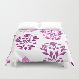 Heart Damask Art I Pinks Plums White Duvet Cover