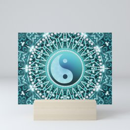 Tranquility Yin Yang Blue Aqua Mandala Mini Art Print