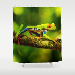 red-eyed tree frog | Watercolor Painting Shower Curtain