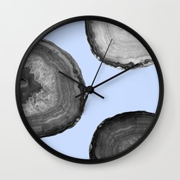indigo and b&w agate Wall Clock