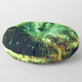 Lime Green Grass Galaxy Nebula Floor Pillow