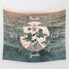 Compass Sunset Sea Dreams Wall Tapestry